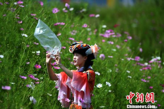 图为一员工在花丛中打包新鲜空气。 陈超 摄